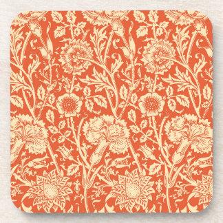 アールヌーボーのカーネーションのダマスク織、マンダリンオレンジ コースター