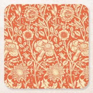 アールヌーボーのカーネーションのダマスク織、マンダリンオレンジ スクエアペーパーコースター