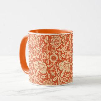 アールヌーボーのカーネーションのダマスク織、マンダリンオレンジ マグカップ