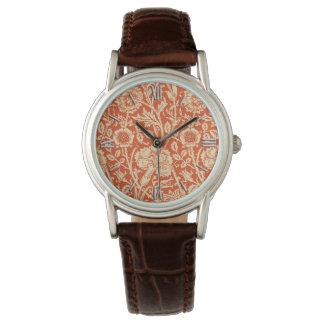 アールヌーボーのカーネーションのダマスク織、マンダリンオレンジ 腕時計