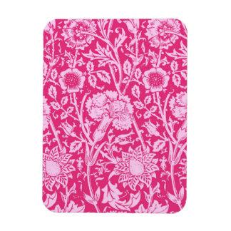 アールヌーボーのカーネーションのダマスク織、明るい赤紫色のピンク マグネット