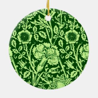アールヌーボーのカーネーションのダマスク織、深緑色 セラミックオーナメント