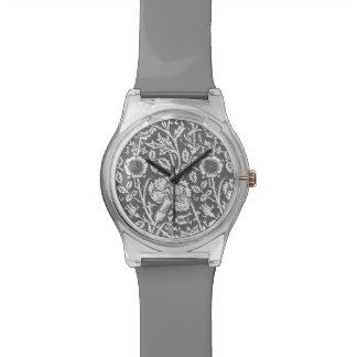 アールヌーボーのカーネーションのダマスク織、灰色/灰色 腕時計
