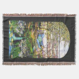 アールヌーボーのステンドグラスの滝のブランケット スローブランケット