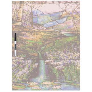 アールヌーボーのステンドグラスの滝水庭 ホワイトボード