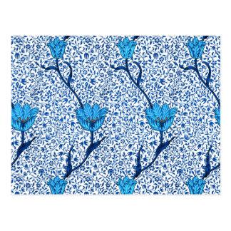 アールヌーボーのチューリップのダマスク織、コバルトブルー ポストカード