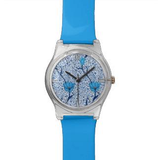 アールヌーボーのチューリップのダマスク織、コバルトブルー 腕時計