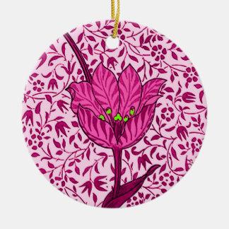 アールヌーボーのチューリップのダマスク織、ワイン及び明るい赤紫色のピンク セラミックオーナメント