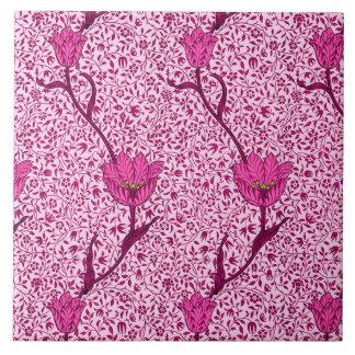 アールヌーボーのチューリップのダマスク織、ワイン及び明るい赤紫色のピンク タイル