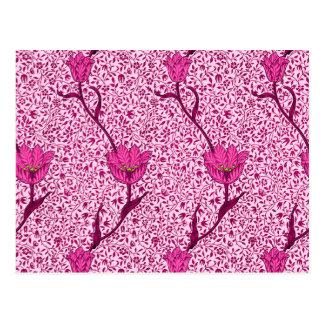 アールヌーボーのチューリップのダマスク織、ワイン及び明るい赤紫色のピンク ポストカード