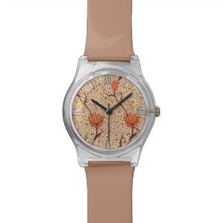 アールヌーボーのチューリップダマスク織、珊瑚およびベージュ色 腕時計