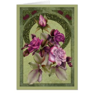 アールヌーボーのバラ カード