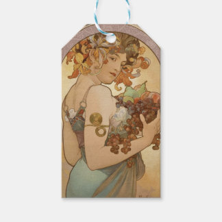 アールヌーボーのミュシャの美しい女性のフルーツ ギフトタグパック