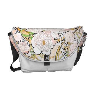 アールヌーボーのミュシャの花の花柄のメッセンジャーバッグ メッセンジャーバッグ