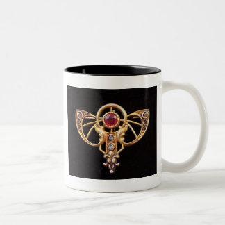 アールヌーボーのルビー色ののりPin 2 ツートーンマグカップ