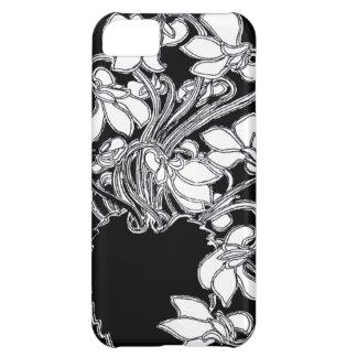 アールヌーボーのヴィンテージの花の黒く及び白い箱 iPhone5Cケース