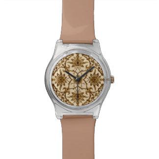 アールヌーボーの中国のなパターン-ブラウンおよびベージュ色 腕時計
