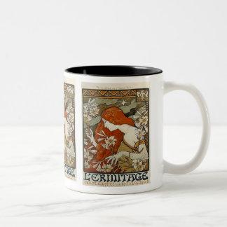 アールヌーボーの女性及びユリのマグ ツートーンマグカップ