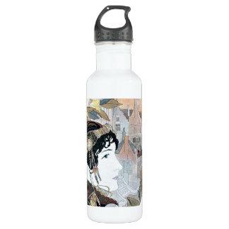 アールヌーボーの女性及び花の花の水差し 710ML ウォーターボトル