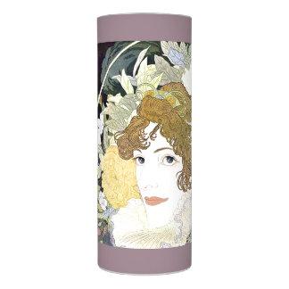 アールヌーボーの女性及び花の花柄の蝋燭 LEDキャンドル