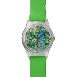 アールヌーボーの孔雀のプリント、コバルトブルー及び緑 腕時計
