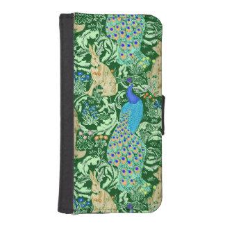 アールヌーボーの孔雀のプリント、コバルトブルー及び緑 iPhoneSE/5/5sウォレットケース