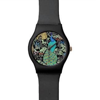 アールヌーボーの孔雀のプリント、ターコイズ及びニュートラル 腕時計