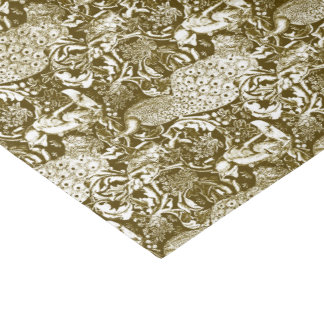 アールヌーボーの孔雀のプリント、ブラウンおよびクリーム 薄葉紙