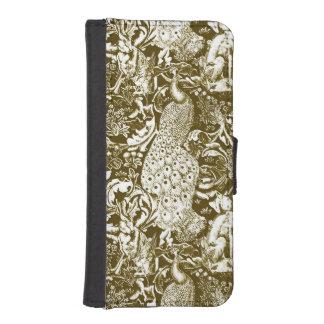 アールヌーボーの孔雀のプリント、ブラウンおよびクリーム iPhoneSE/5/5sウォレットケース