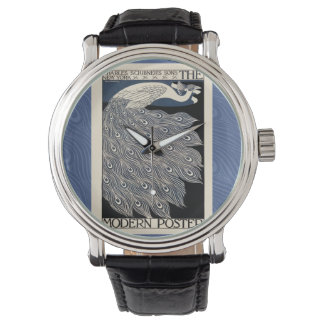 アールヌーボーの孔雀ポスター 腕時計