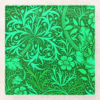 アールヌーボーの海藻花柄、エメラルドグリーン ガラスコースター