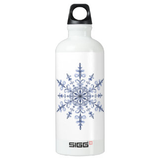 アールヌーボーの白の青い雪片のデザイン ウォーターボトル