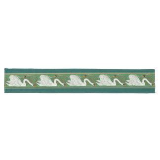 アールヌーボーの白鳥の鳥の野性生物動物 ロングテーブルランナー