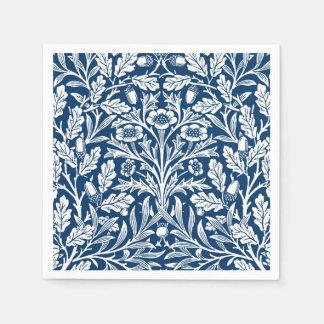 アールヌーボーの花のダマスク織、コバルトブルーおよび白 スタンダードカクテルナプキン