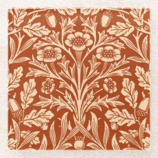 アールヌーボーの花のダマスク織、マンダリンオレンジ ガラスコースター