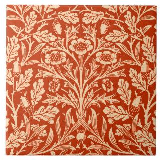アールヌーボーの花のダマスク織、マンダリンオレンジ タイル