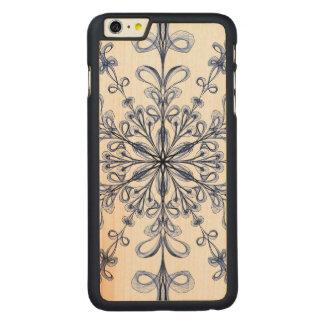 アールヌーボーの花のヤグルマギクの青いデザイン CarvedメープルiPhone 6 PLUS スリムケース