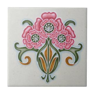 アールヌーボーの花柄のタイル タイル