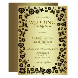 アールヌーボーの金花の魅力的なおとぎ話の結婚 カード