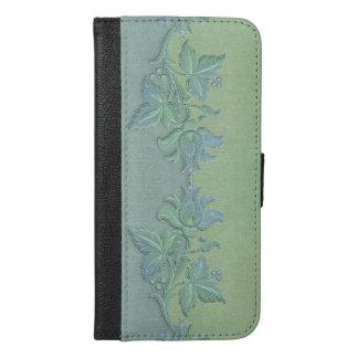 アールヌーボーの青および緑の花のボーダー iPhone 6/6S PLUS ウォレットケース