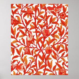 アールヌーボーの鳥及びザクロのマンダリンオレンジ ポスター
