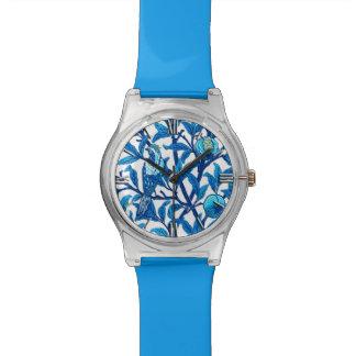 アールヌーボーの鳥及びザクロ、コバルトブルー 腕時計