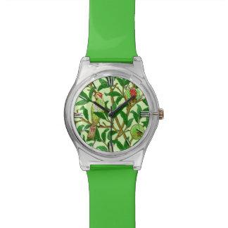アールヌーボーの鳥及びザクロ、ライムグリーン 腕時計