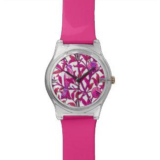 アールヌーボーの鳥及びザクロ、明るい赤紫色のピンク 腕時計