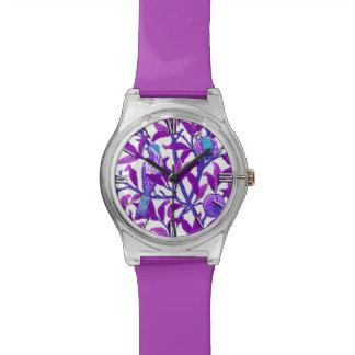 アールヌーボーの鳥及びザクロ、紫色の紫色 腕時計