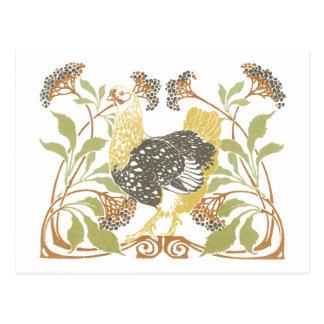 アールヌーボーの鶏 ポストカード