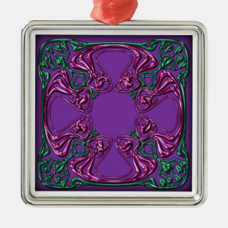 アールヌーボーは正方形を宝石で飾りました メタルオーナメント