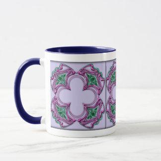 アールヌーボーは正方形2を宝石で飾りました マグカップ