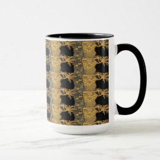 アールヌーボーグスタフのクリムトの金ゴールドの黒パターン マグカップ