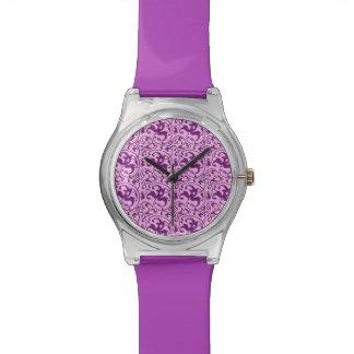 アールヌーボーパターン、蘭のプラム 腕時計